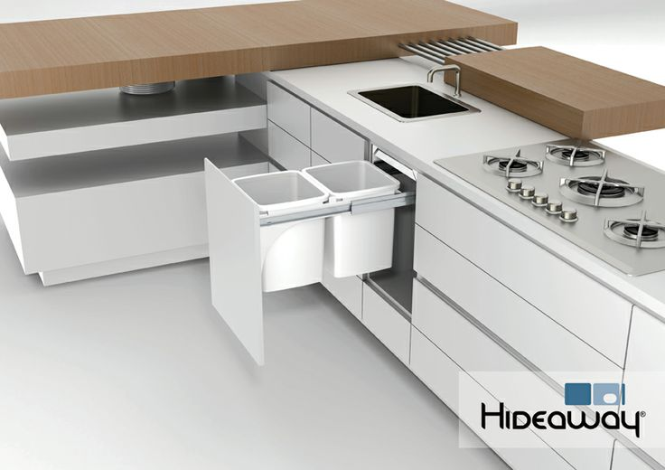 Double 15L Hideaway Bin featured in a kitchen environment. Model: Hideaway Deluxe KK6D featuring an antibacterial Clinikill™ powder coating friction-fitted lid to keep odours locked away.