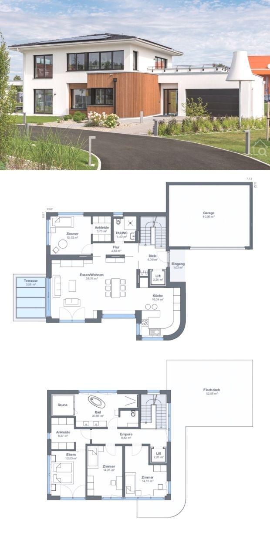 Stadtvilla modern Grundriss mit Garage Modern floor