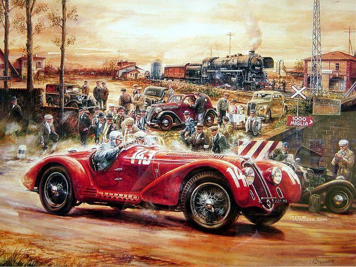 Charming Vintage Cars And Racing Scene, Automotive Art Of Vaclav Zapadlik    Automotive Art : Alfa