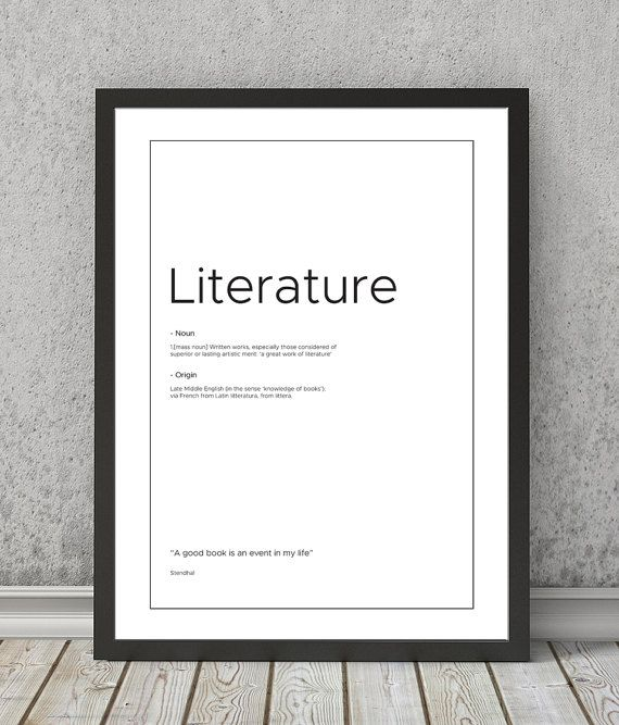 Nice Literature definition print Literature typography by VectorDome