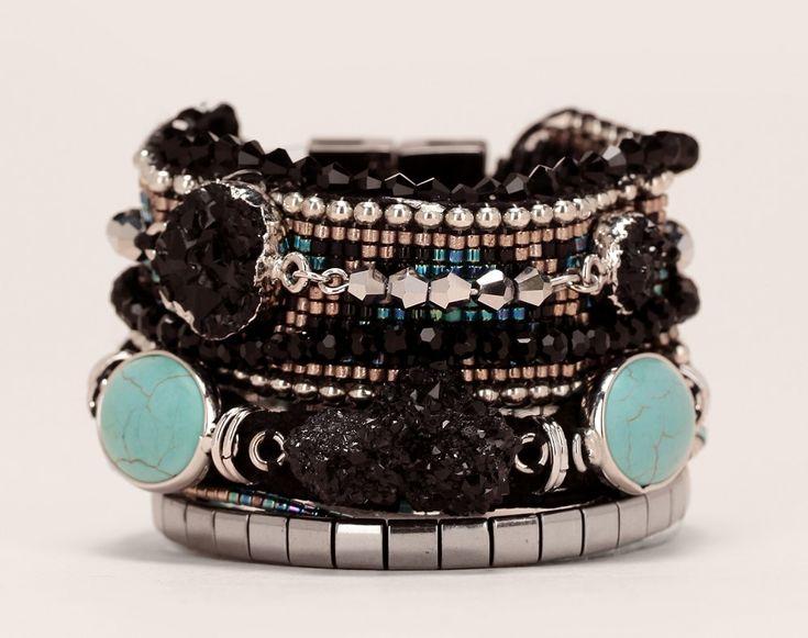 Manchette noire Carbone Hipanema cordes/pierres/perles noir/turquoise prix promo…