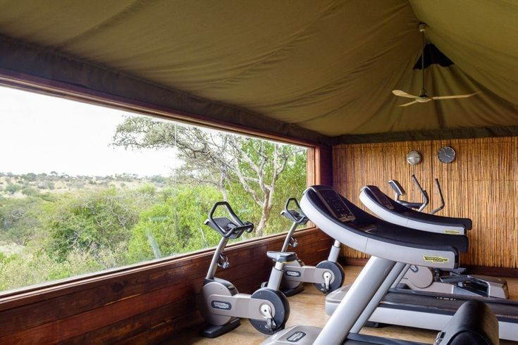 Fully equipped gyms are available for guests' convenience. Each facility provides picturesque views of the bush, allowing you to keep an eye on the action outside while you work out.