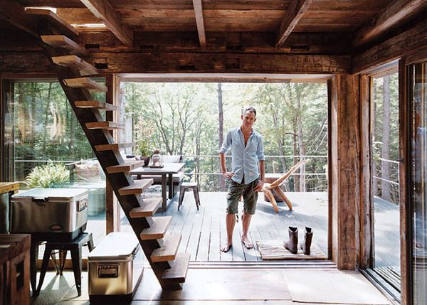 Cabin In The Woods Off The Grid in New York - Randommization These stairs are awesome!  Could be a cooler/safer version of the ladder for upstairs/lofted sleeping, although probaby need a railing on at least one side