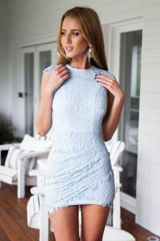 Light Blue Lace Bodycon Mini Dress | USTrendy