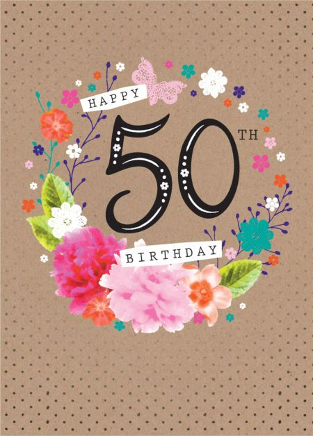 Debbie Edwards - Age Birthday Milestone Big Number 50 50th In Floral Wreath