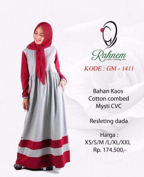Baju Gamis Wanita Rahnem GM-1411 Merah | Annisa Collection