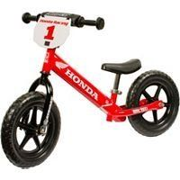 Strider No-Pedal Balance Bike - Honda Graphics (HONDA) by Strider. Save 10 Off!. $119.99. Strong, light, one piece design with proven no-flat EVA Polymer tire. NEW Mini-Grip Handlebar and Mini-Handgrips. 43% smaller diameter than standard grips to better fit a toddler's small hands. NEW Handlebar Pad. Adds extra protection and cool motocross styling. NEW Mini-Saddle on 220 mm Seat post. Smaller, narrower and lighter than a typical saddle to better fit a toddler's tiny hip spa...
