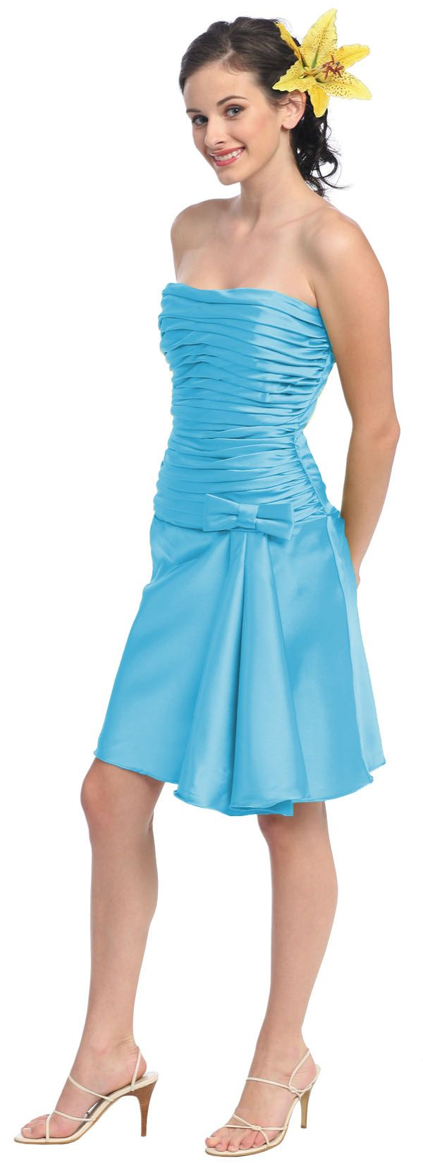 28 best bridesmaid dresses images on pinterest long bridesmaid short turquoise knee length dress strapless bow tie 8999 ombrellifo Choice Image