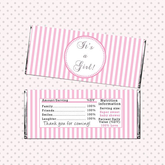 INSTANT DOWNLOAD Pink Stripes Baby Shower Candy Bar Wrapper Its A Girl Baby Shower Favor Baby Shower Decorations Party Favors