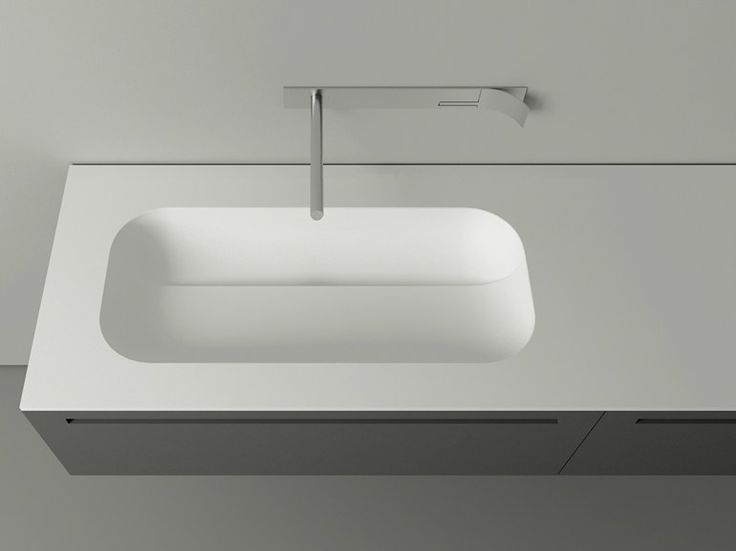 Oval Cristalplant� washbasin with integrated countertop KUPA by Boffi design Victor Vasilev