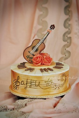 Musical piano and guitar cake