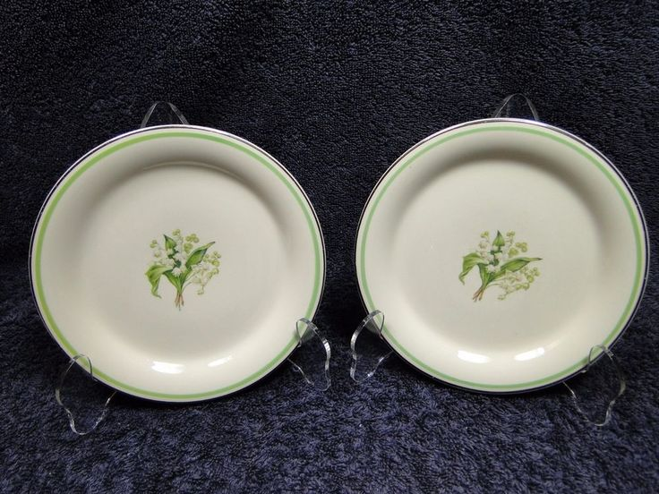 """Homer Laughlin Eggshell Swing Lily of the Valley Bread Plates 6"""" TWO 2nd Quality #HomerLaughlin"""