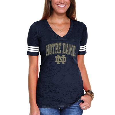 Notre Dame Fighting Irish Ladies Almost There Slim Fit V-Neck T-Shirt - Navy Blue