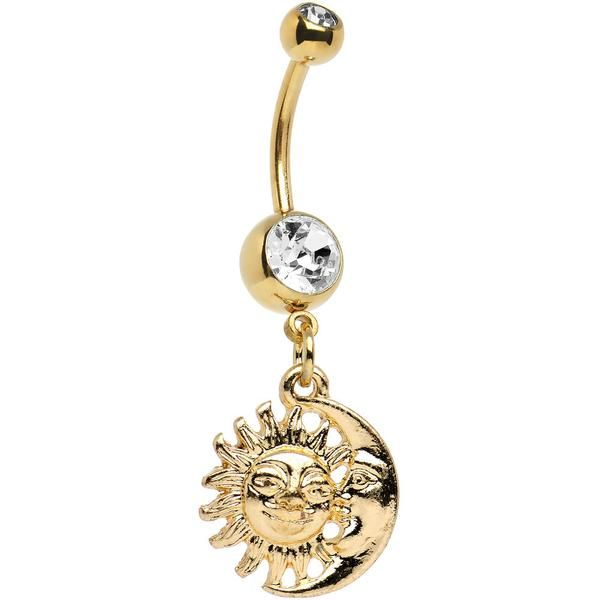 Gold Anodized Clear Gem Sun and Moon Dangle Belly Ring