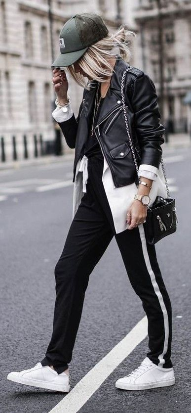 With A Cap, A Biker Jacket, A Long Open Blouse, Black and White Joggers, White Sneakers | Noholita