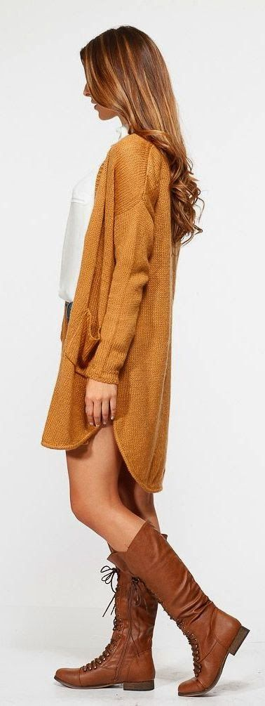 Adorable long brown cardigan, white blouse and brown long shoes