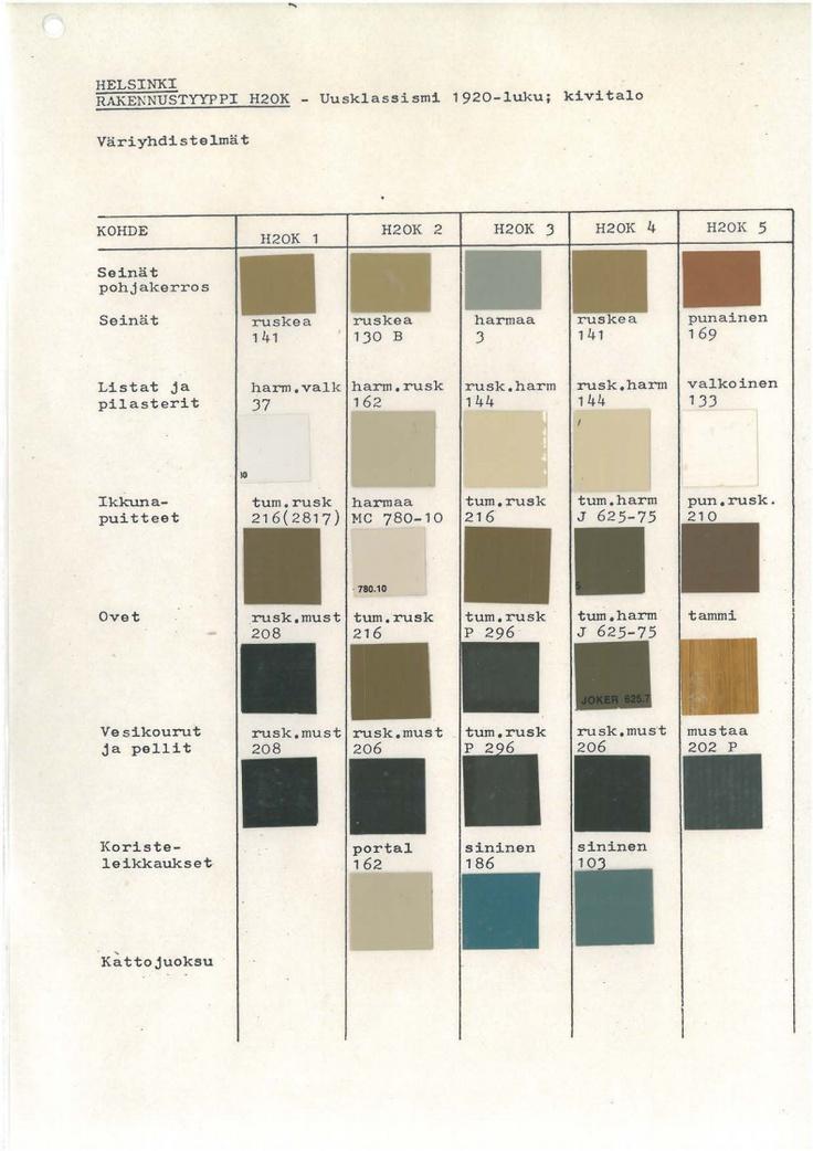 Helsinki city designated color schemes for 1920's neo classism era buildings.