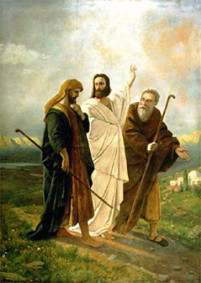 """Jesus Appears to the Two. BIBLE SCRIPTURE: Luke 24:15, """"And it came to pass, that, while they communed together and reasoned, Jesus himself drew near, and went with them."""" - http://access-jesus.com/Luke/Luke_24.html"""