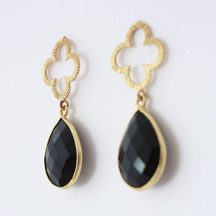 Black Clover Earrings. Black onyx gemstones with an open work four leaf clover design.