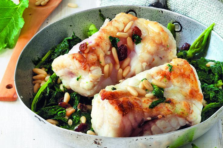 La Cucina Italiana  Arrostini di mare con cime di rapa, pinoli e uvetta
