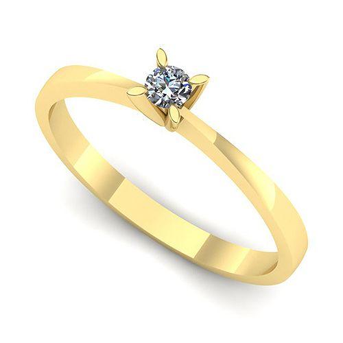 Inelul este realizat din:   * Piatra principala: diamant 1buc x ~2.20mm - greutate: ~0.04ct; * Culoare: G, Claritate: VS2, forma: round
