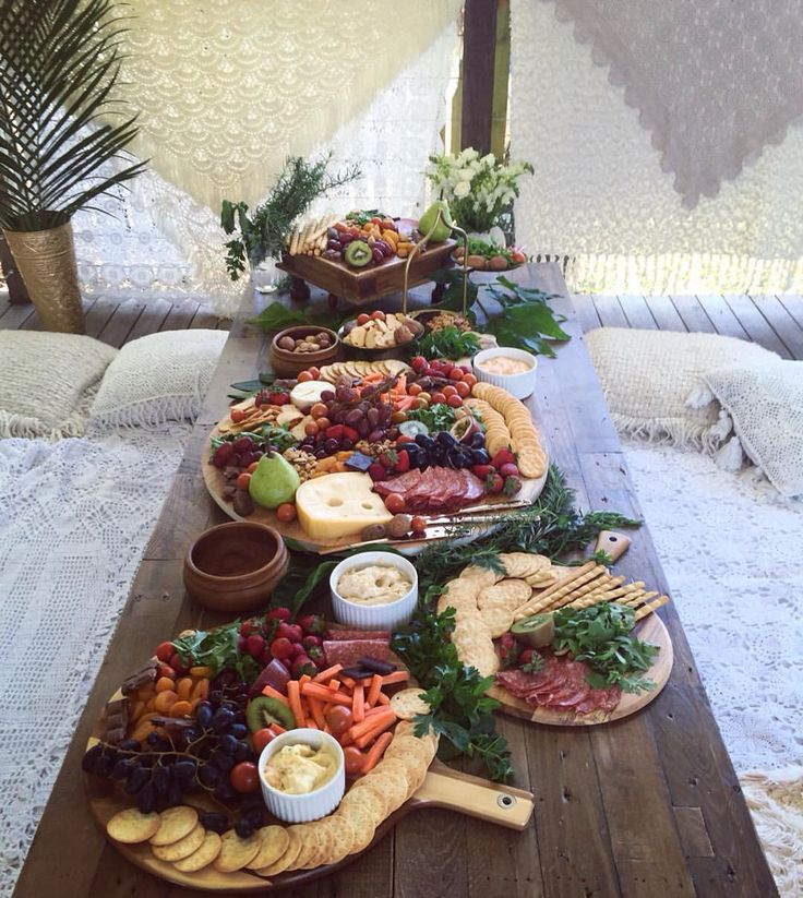 Fruit and cheese platters // rustic boho baby shower Bohemian Instagram: sian____
