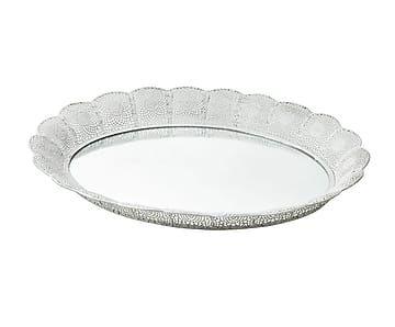 Vassoio ovale specchiato in ferro Istanbul - 49x5x38 cm