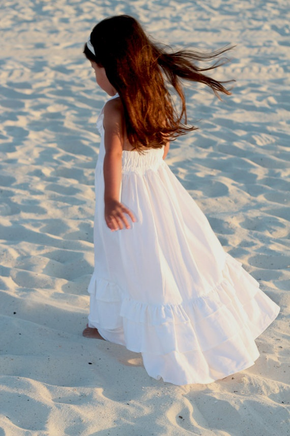 White Linen Maxi Dress Size 5 And 6 Years Flower Girl