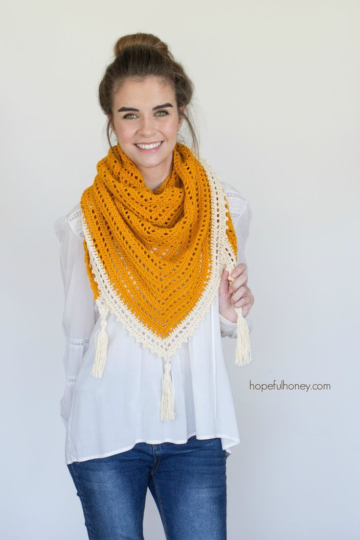 Hopeful Honey: Honey Bird Triangle Scarf - Free Crochet Pattern by Olivia Kent.