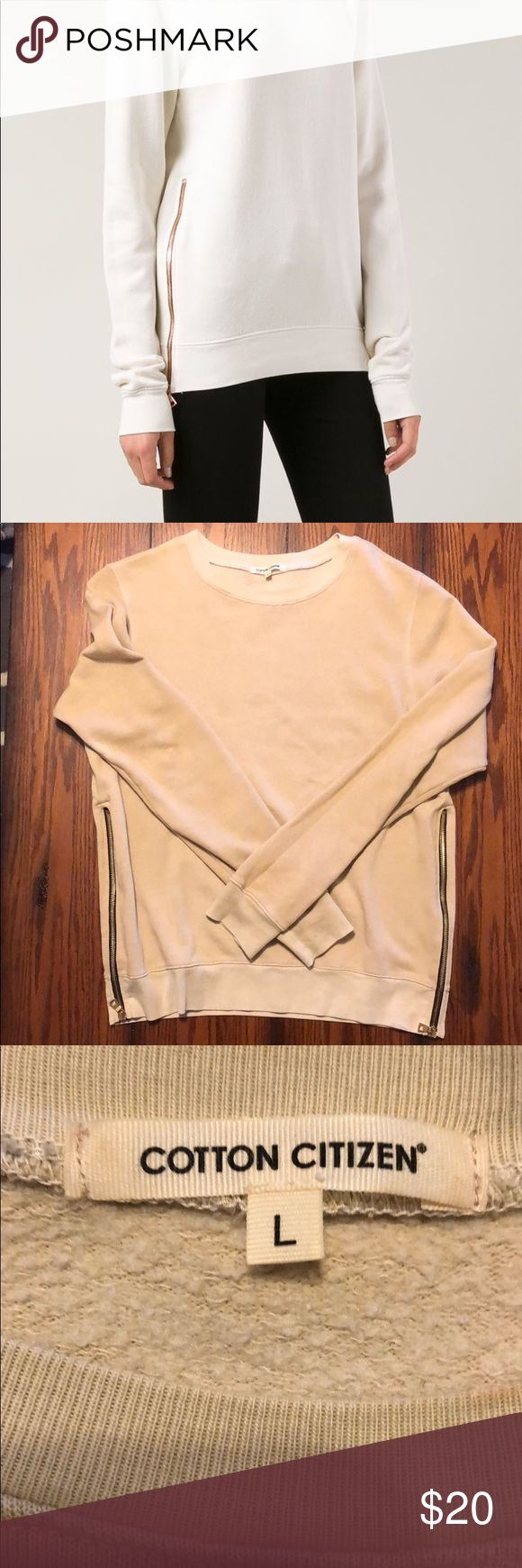 Cotton Citizen Side Zip Sweatshirt Cotton Citizen Side Zip Sweatshirt in Nude. Sized large but fits small. Gold zippers with black trim. Long enough to wear with leggings. Really good condition! Cotton Citizen Tops Sweatshirts & Hoodies