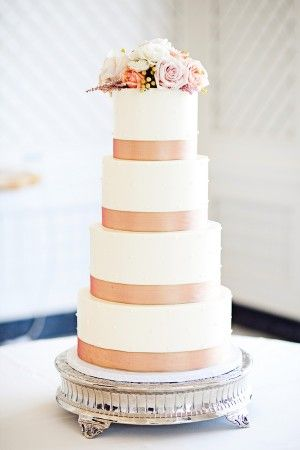 contemporary peach wedding cake by Jen's Cakes   photography by http://www.megperotti.com/