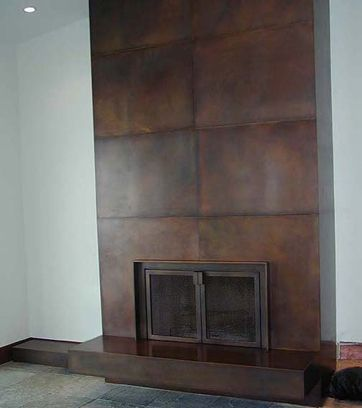 Bronze Wall Cladding Fireplace Surround With Doors And
