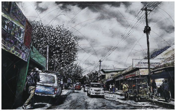 An original work by Phillemon Hlungwani entitled: No: 38 1st Avenue PAN AFRICA (ALEX) I mixed media on paper 70 x 115cm For more please visit www.finearts.co.za