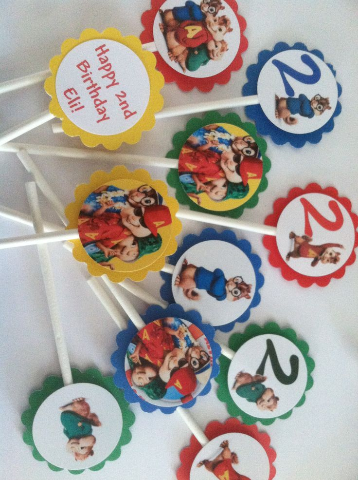 Alvin and the chipmunks cupcake toppers Birthday party idea favors decorations 12 for 5.00
