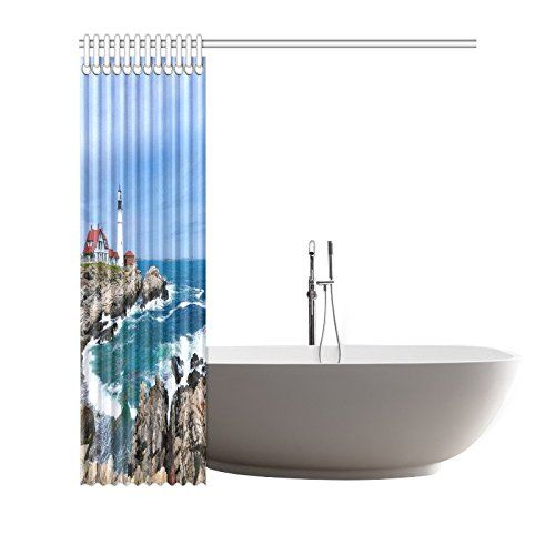 InterestPrint Lighthouse Ocean Custom Shower Curtain - Beachfront Decor