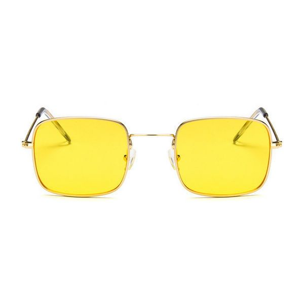 Small Retro Square Metal Frame Sunglasses Gold/Yellow ($9.95) ❤ liked on Polyvore featuring accessories, eyewear, sunglasses, square lens sunglasses, square sunglasses, see through glasses, yellow lens sunglasses and gold lens sunglasses