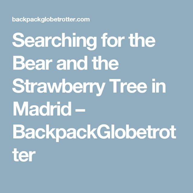 Searching for the Bear and the Strawberry Tree in Madrid – BackpackGlobetrotter