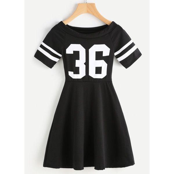 Digital Print Striped Sleeve Flare Dress (425 DOP) ❤ liked on Polyvore featuring dresses, black, short sleeve summer dresses, short-sleeve dresses, long-sleeve skater dresses, short flared dresses and short sleeve dress