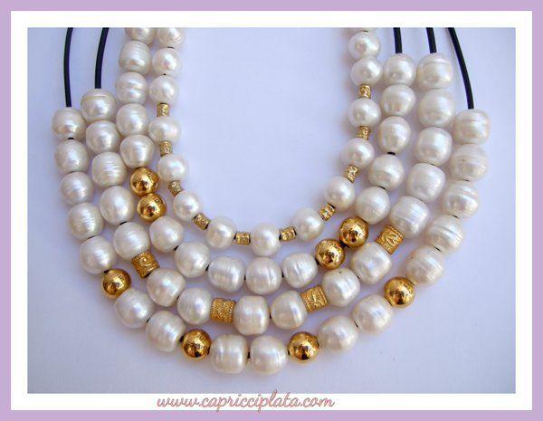 Collares de perlas y plata en www.capricciplata.com #collares #perlas #plata #moda #fashion #capricciplata #tiendaonline #shopping #verano