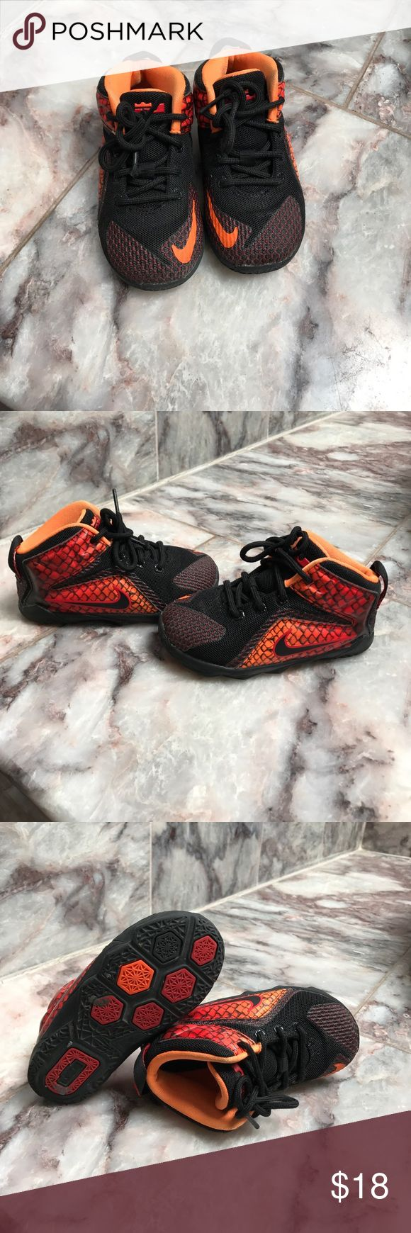 Toddler athletic shoes Orange/Black Lebron James Shoes Sneakers