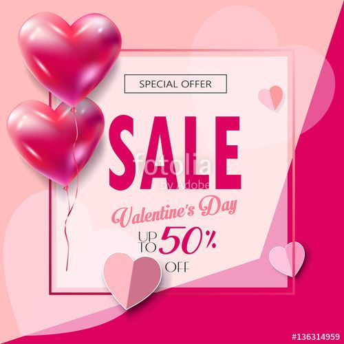 Vector: Sale discount banner for Valentines Day. Sale Vector Special offer poster with heart balloons, festive background. Love, poster, banner, coupon. Typography Gift card.