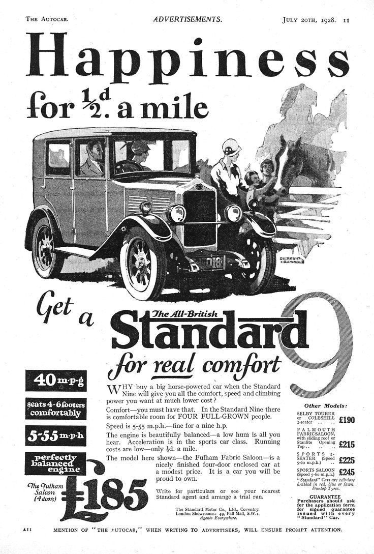 Standard motor car autocar advert 1928