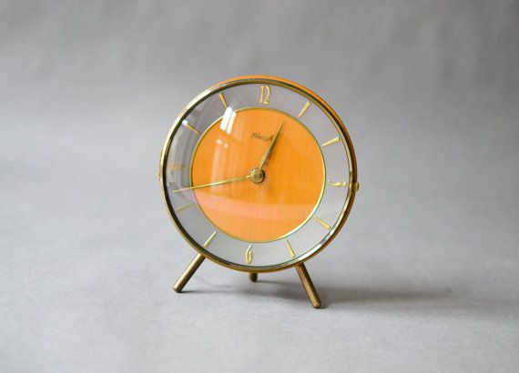 Vintage teak desk clock, table clock Kienzle, West German Mid-Century Modern clock