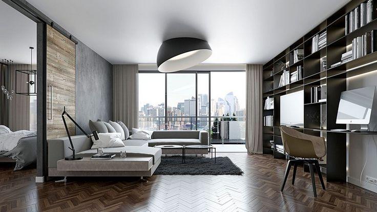 id es d co couleur grise lambris bois et rev tement de sol en parquet chevron sol pinterest. Black Bedroom Furniture Sets. Home Design Ideas
