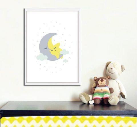 Sárga-szürke babaszoba falikép, dekoráció, print, grafika - felhő, hold, csillag- 1db A4-es (kkreabeaa) - Meska.hu