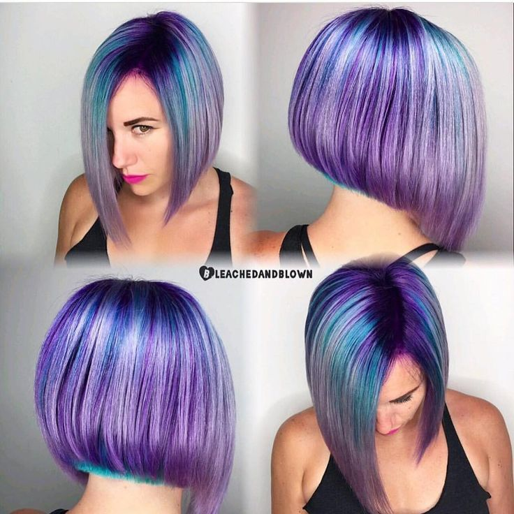 Bob, Purple And Turquoise Streaks. #hair #beauty