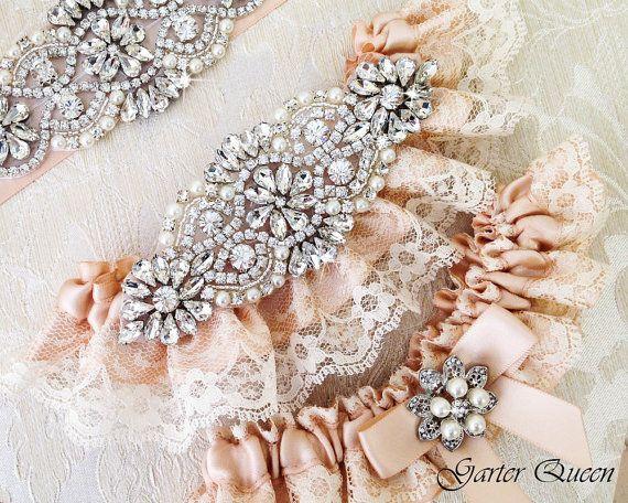 Blozen bruiloft Kousenband instellen ivoor Lace door GarterQueen