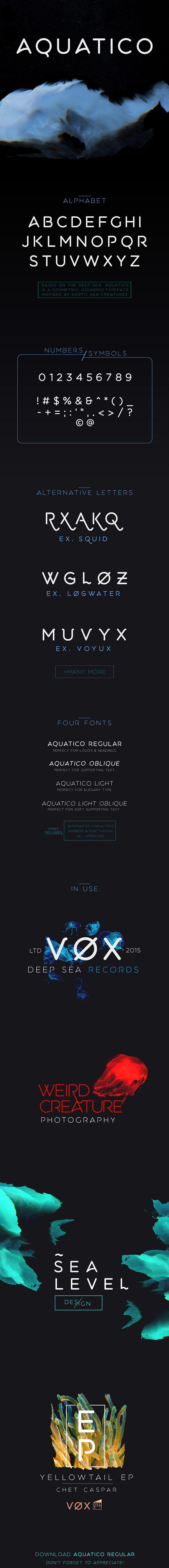 La police de caractère « Aquatico » vous est offerte et a été conçu par Andrew Herndon. Aquatico est une nouvelle police de caractères inspirée par les créatures des fonds marins. http://www.studiokarma.fr/aquatico-police-de-caractere-gratuite/
