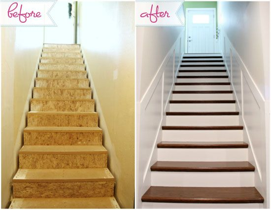 Great blog write up on finishing basement stairs. Hm...worth it to uncover the steps? I like the walls, too.