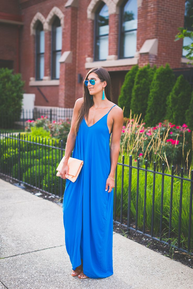 blue maxi dress, summer maxi dress, turquoise tassel earrings, moon and lola jewelry, swim cover-up maxi // @asoutherndrawl